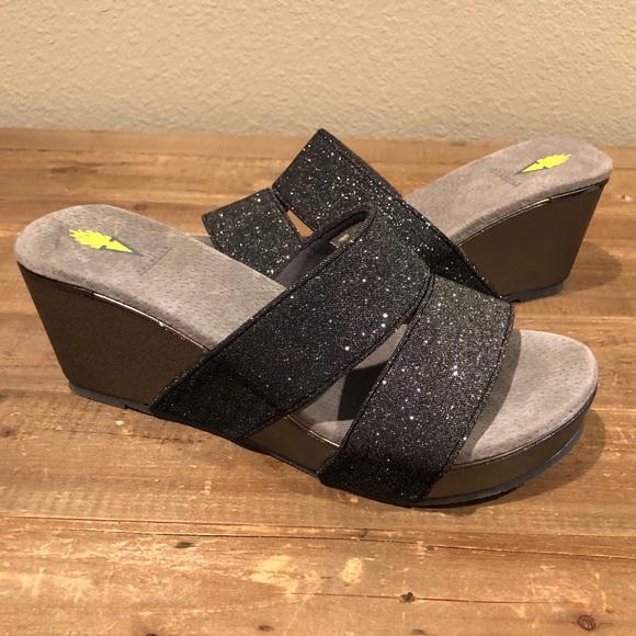 Volatile Black Silver Wedge Sandals - Size 10